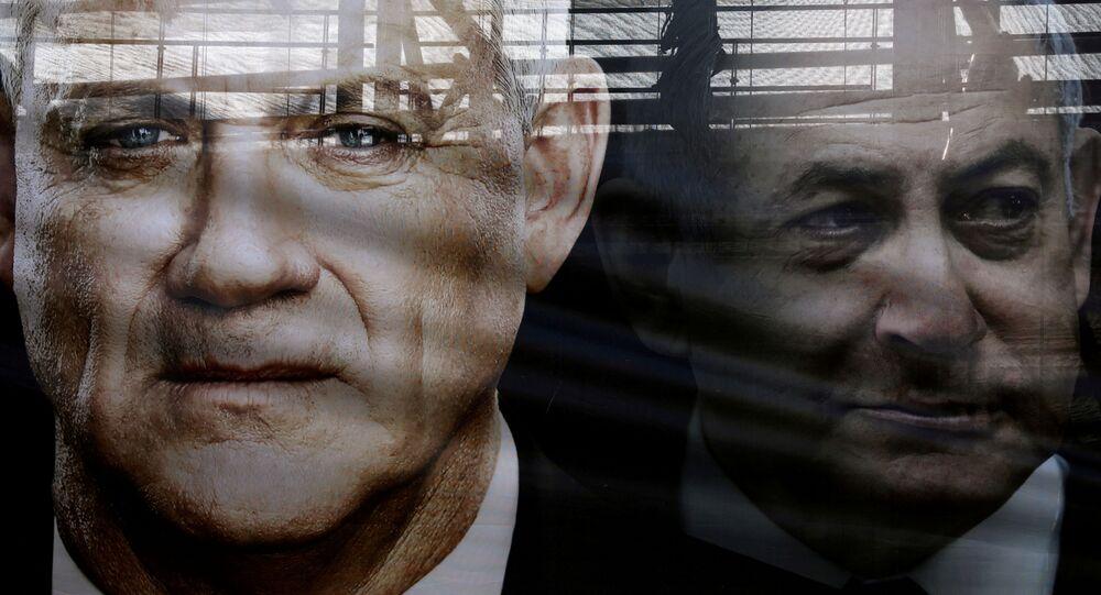 El líder de Azul y Blanco, Benny Gantz, y el líder de Likud, primer ministro israelí, Benjamín Netanyahu