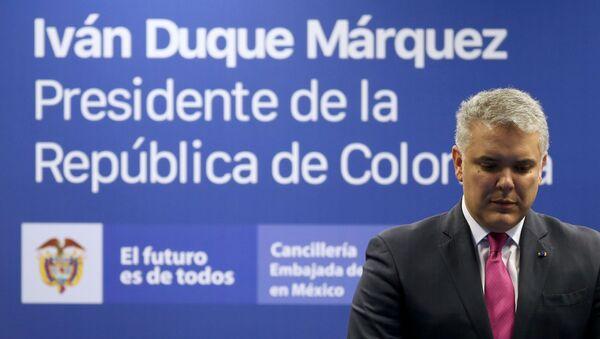 El presidente de Colombia Iván Duque durante una conferencia de prensa - Sputnik Mundo
