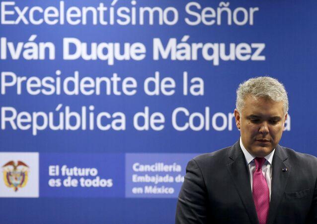El presidente de Colombia Iván Duque durante una conferencia de prensa