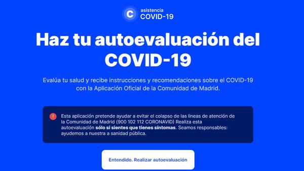 Interfaz de la aplicación coronamadrid.com - Sputnik Mundo