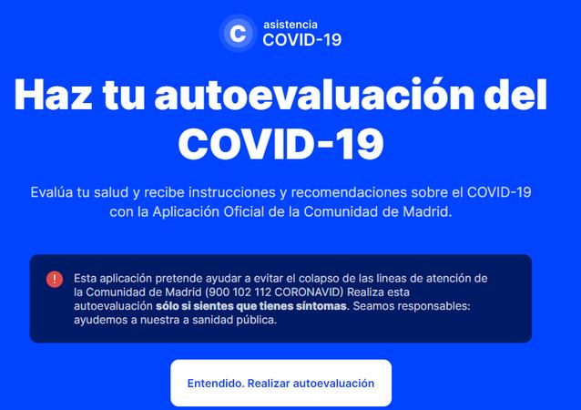 Interfaz de la aplicación coronamadrid.com