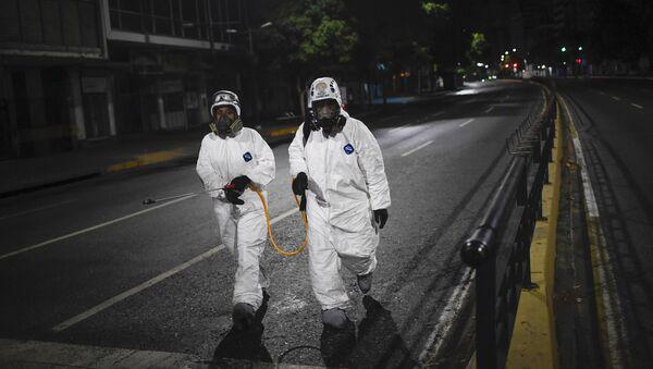 Desinfección de las calles en Caracas - Sputnik Mundo