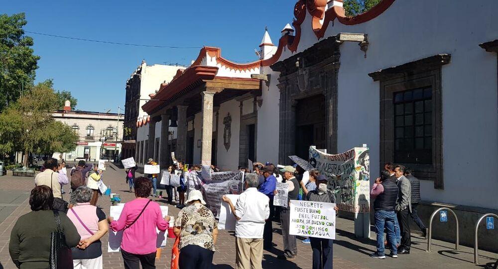 Manifestación por acceso al agua potable para la zona centro de Santo Domingo, 23 de marzo 2020, Ciudad de México