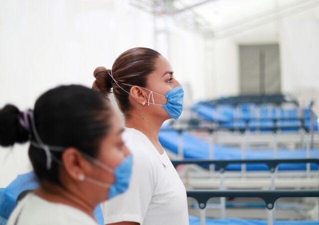 El hospital inflable en Pachuca instalado para atender casos de coronavirus, México