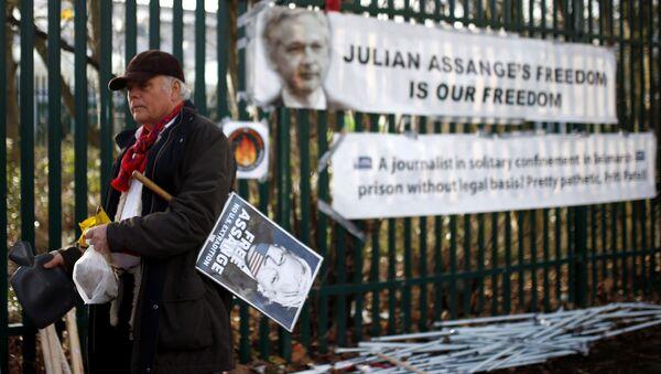 Uno de los seguidores de Assange - Sputnik Mundo