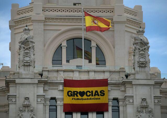 Mensaje de agradecimiento en la plaza de Cíbeles de Madrid