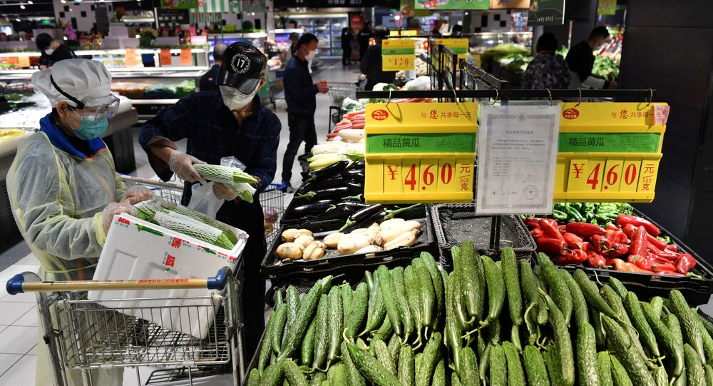 Un supermercado en Wuhan, China