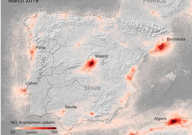 Mapa de la concentración de dióxido de nitrógeno en España de la ESA
