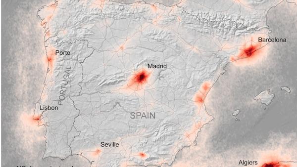 Mapa de la concentración de dióxido de nitrógeno en España en marzo de 2019 - Sputnik Mundo