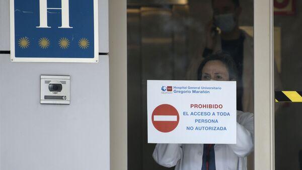 Una médico en el Gran hotel Colón en Madrid, el primer hotel transformado en hospital durante el estado de alarma - Sputnik Mundo