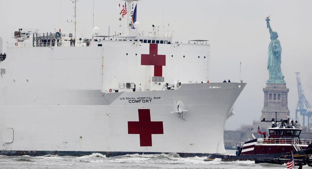El buque hospital Comfort de la marina de EEUU