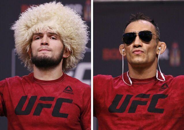 Khabib Nurmagomédov y Tony Ferguson, luchadores de artes marciales mixtas