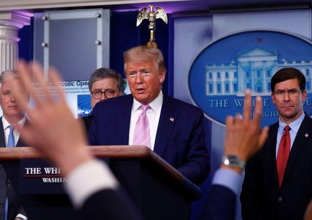 Donald Trump, presidente de EEUU, respondiendo a las preguntas sobre Venezuela durante la rueda de prensa