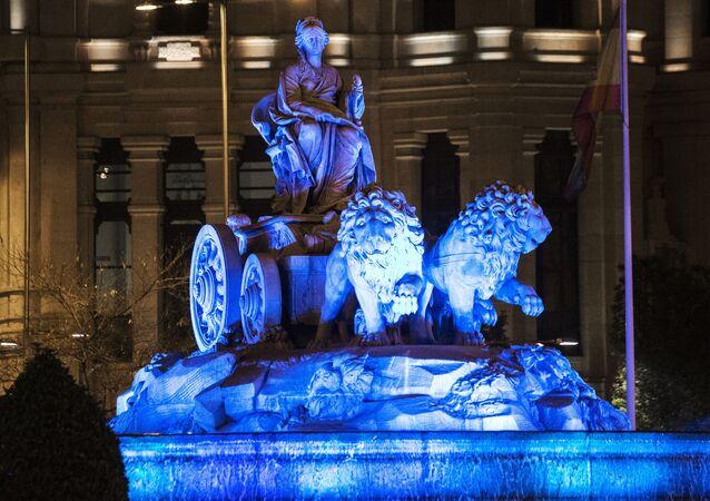 La acción 'Light it up blue' en Madrid, archivo
