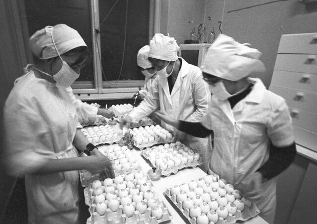 Unos médicos soviéticos producen una vacuna