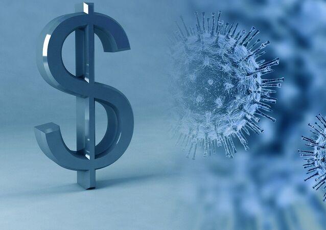El símbolo del dólar y el coronavirus