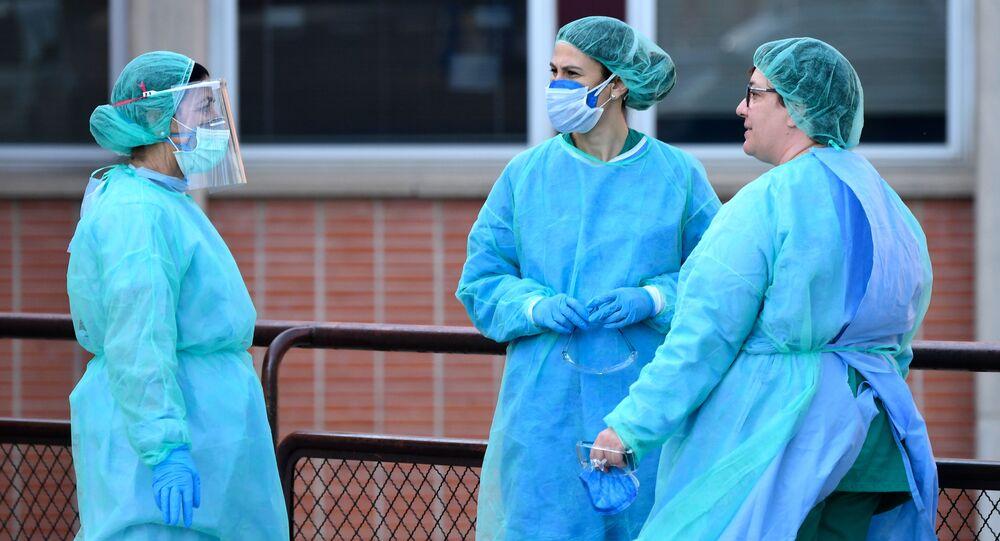 Sanitarias a las puertas del Hospital Severo Ochoa de Leganés (Madrid)