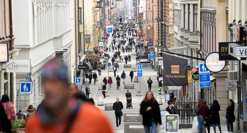 La calle Drottninggatan en Estocolmo, Suecia