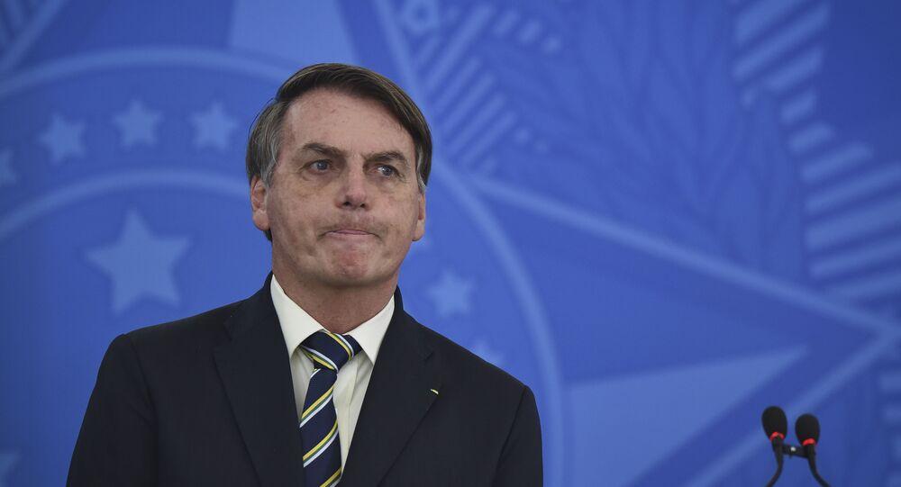 El presidente de Brasil, Jair Bolsonaro, durante una rueda de prensa