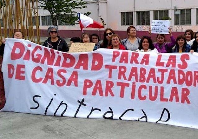 Manifestación por trabajadora domésticas en Chile