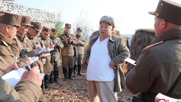 Kim Jong-un, dirigente de Corea del Norte, durante un entrenamiento de artillería - Sputnik Mundo