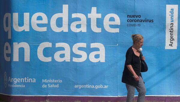 Cartel para que la gente se quede en casa en Buenos Aires, Argentina - Sputnik Mundo