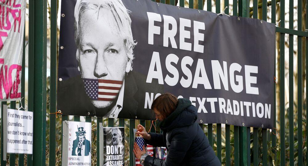 Una activista en las manifestaciónes contra la extradición de Julian Assange (archivo)
