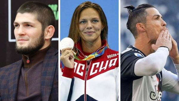 Luchador de la UFC Khabib Nurmagomedov, nadadora Yulia Efímova, futbolista Cristiano Ronaldo - Sputnik Mundo