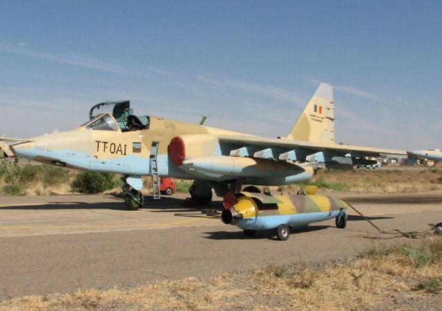 Un Su-25 de la Fuerza Aérea de la República de Chad