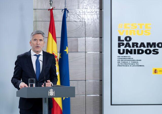 Grande-Marlaska, ministro del Interior, en una rueda de prensa en La Moncloa