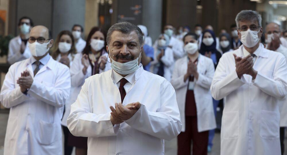 El ministro de Sanidad turco, Fahrettin Koca, durante la ceremonia de inauguración de lo que será el hospital más grande en Europa