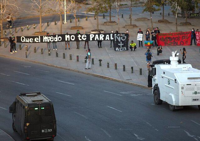 Manifestantes en Plaza de la Dignidad, 18 abril de 2020