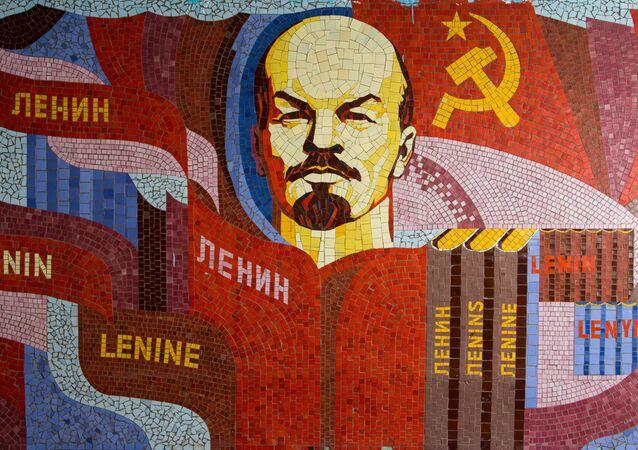 Un mosaico de Vladímir Lenin, líder de la revolución bolchevique