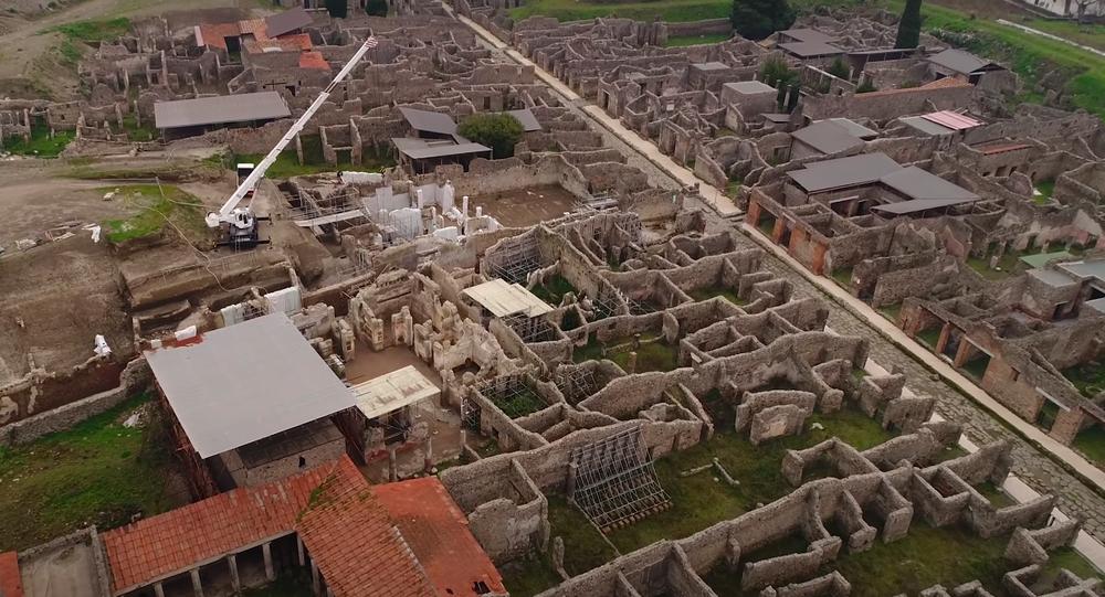 Un sitio arqueológico de Pompeya a vista de pájaro