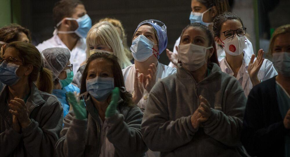 Trabajadores sanitarios de Barcelona-España