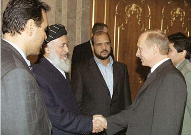 Burhanuddin Rabbani y el presidente ruso, Vladímir Putin, en 2001