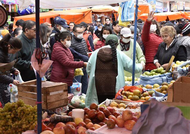 Mercado en La Paz, Bolivia