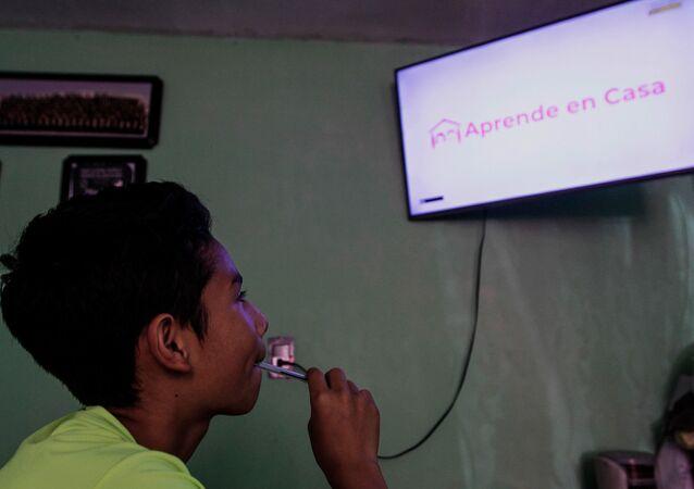 Un niño toma clases virtuales por televisión (imagen referencial)