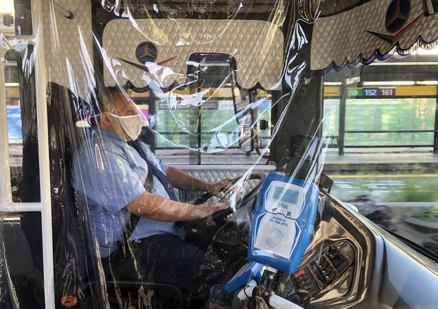 Conductor de autobús en Buenos Aires, Argentina