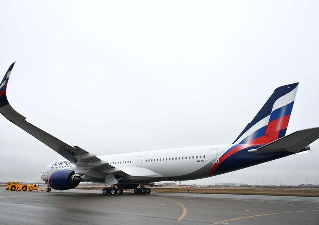 Presentación del primer Airbus A350-900 de la aerolínea rusa, Aeroflot