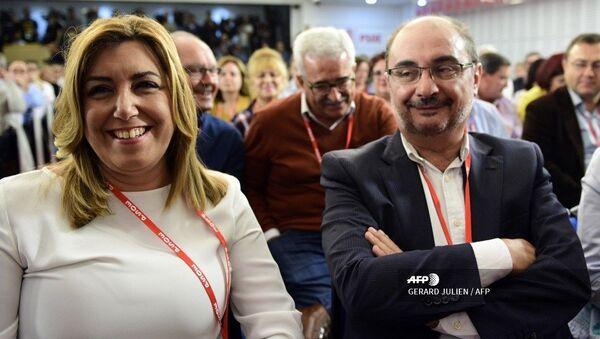 El presidente de Aragón, Javier Lambán, junto a la expresidenta de Andalucía, Susana Díaz - Sputnik Mundo