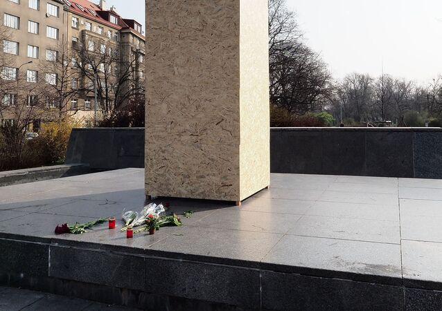 El lugar del monumento demolido del mariscal soviético Iván Kónev en Praga