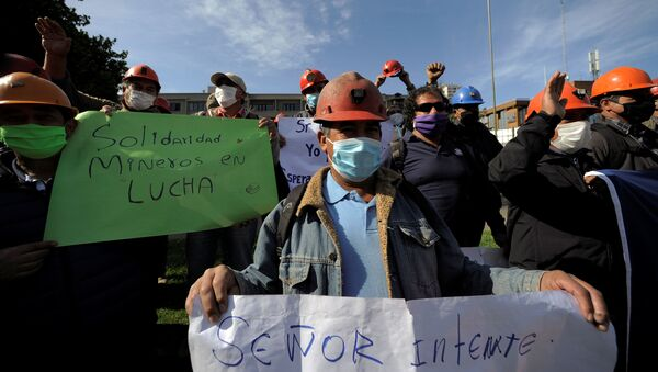 Mineros chilenos manifestándose en medio de la pandemia por COVID-19 - Sputnik Mundo