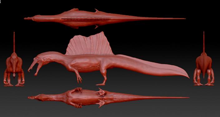 Los investigadores reconstruyeron con la tecnología la apariencia que tenía el Spinosaurus aegyptiacus