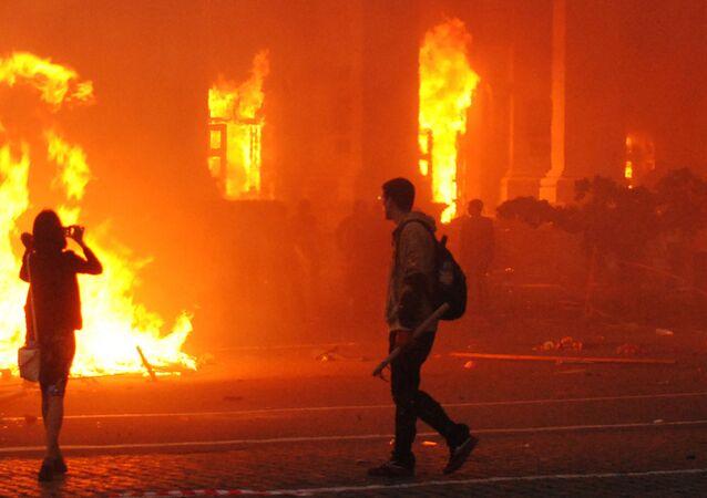 El incendio en la casa de los sindicatos en Odesa