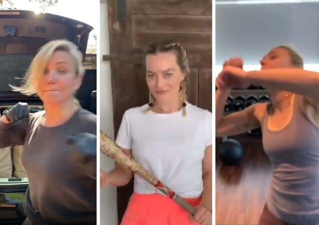 Cameron Díaz, Margot Robbie y Scarlett Johansson en escenas del vídeo del reto #BossBitchFightChallenge