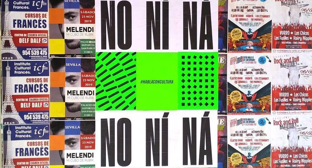 Un cartel con la expresión andaluza No ní ná