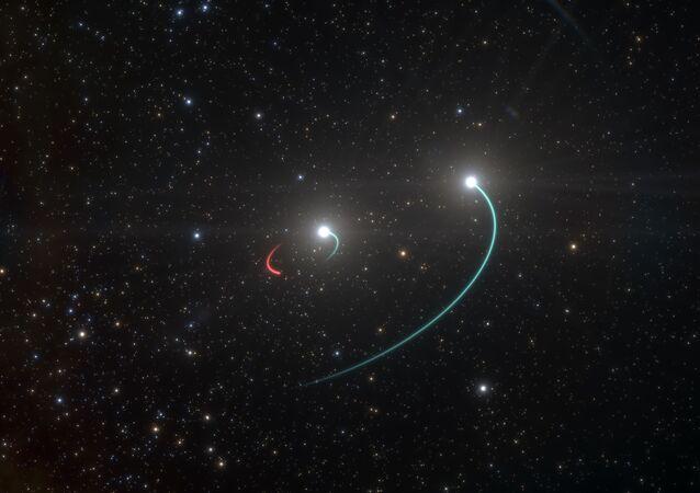 Representación artística del sistema de estrellas HR 6819 y su agujero negro