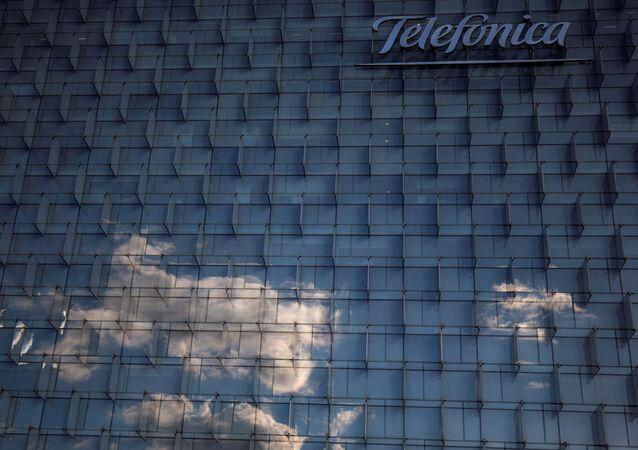 Logo de Telefónica en la sede de Madrid