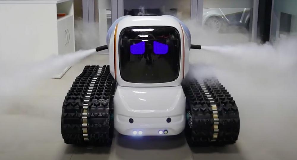 Robot desinfectante de la empresa rusa Avrora Robotics